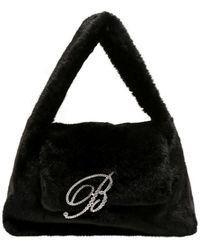 Blumarine Faux Fur Shoulder Bag - Black