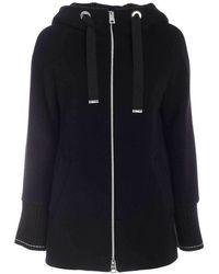 Herno Black Short Coat Featuring Hood