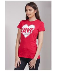Love Moschino Double Lined Heart Tee Colour: Red