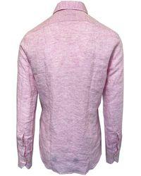 Stenströms Slim Fit Linen Shirt 500 - Pink