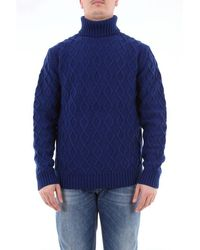 Jeordie's Solid Color Turtleneck With Ribs - Blue