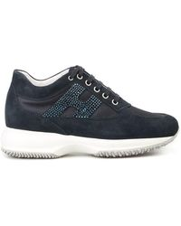 Hogan Interactive Trainers In Blue With Rhinestones Logo