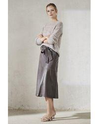 Luisa Cerano Faux Leather Midi Skirt - Grey