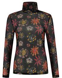 POM Amsterdam Turtleneck Top - Flower Love - Black