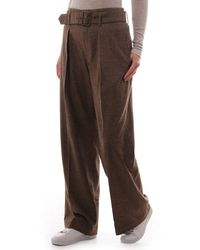 Polo Ralph Lauren Checked Relaxed Wide Leg Pant - Brown