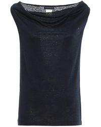 Paolo Fiorillo Capri Cowl Neck Blue Linen Blouse
