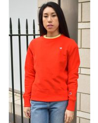 Champion - Crewneck Red Sweatshirt - Lyst