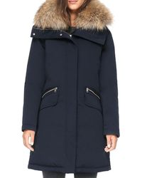 SOIA & KYO Joleen Fur Trim Parka In Indigo - Blue