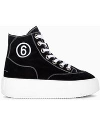 MM6 by Maison Martin Margiela Platform High-top Canvas Sneakers - Black