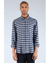 Homecore Tokyo Shirt - Navy / Grey Check - Last Piece - Blue