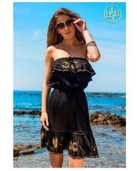 LINDSEY BROWN Black And Gold Atheni Bandeau Dress