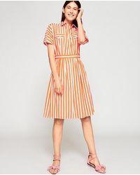 Tara Jarmon Stripe Shirt Dress - Orange