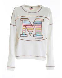 M Missoni Logo Embroidery Sweatshirt In White - Green