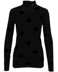 Prada Openwork Viscose Turtleneck Sweater - Black