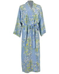 BERNADETTE Long Peignoir Silk Coat - & Yellow - Blue