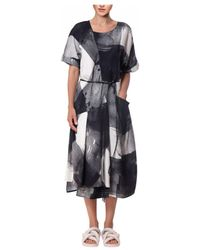 Crea Concept - Printed Midi Dress With Pockets Black & White - Lyst