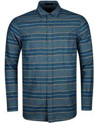 Pendleton Kay Street Print Fitted Shirt Navy/cream Stripe - Blue