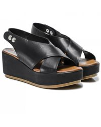Inuovo Leather Slingback Wedge Sandals Colour: Black