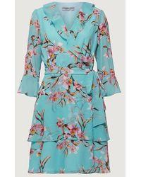 Marella Mint Floral Printed Ikebana Dress 32213901 - Blue