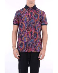 Etro Polo Shirt Short Sleeves Men Fancy Black - Multicolor