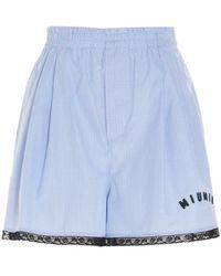Miu Miu Light Other Materials Shorts - Blue
