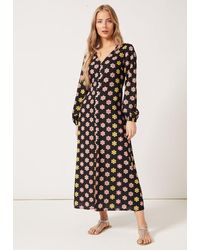 PHOEBE GRACE Matilda V-neck Buttoned Front Long Puff Sleeved Dress Black Daisy