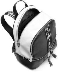 7b7ec9edcd46c MICHAEL Michael Kors - Michael Kors Black White Medium Zip Rhea Backpack -  Lyst
