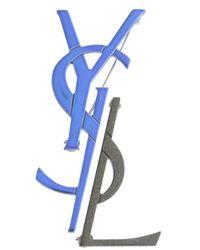 Saint Laurent Deconstructed Monogram Brooch - Blue