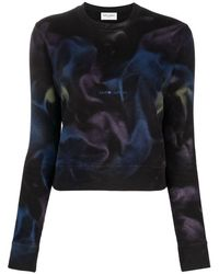 Saint Laurent Logo-print Wave-print Sweatshirt - Black