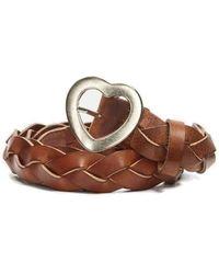 FABIENNE CHAPOT Braidy Leather Heart Belt - Cognac - Brown