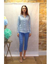120% Lino Striped Linen Waterfall Shirt In - Blue