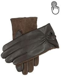 Dents Brown Touchscreen Leather Gloves