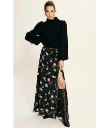 Hayley Menzies Forver Portobello Silk Printed Skirt - Black
