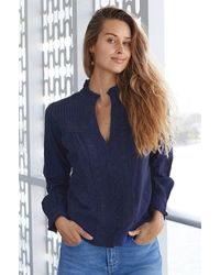 Aspiga Carrie Organic Cotton Dobby Lace Blouse   Navy - Blue