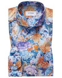 Eton of Sweden Slim Fit Floral Print Cotton- Shirt - Blue