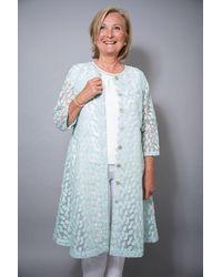 Out Of Xile - Leaf Embroidery Coat Aqua - Lyst
