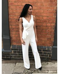 Adrianna Papell White Wide Leg Jumpsuit