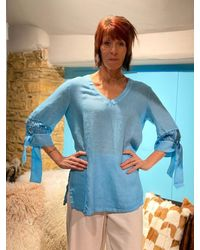 120% Lino Donna Tunic In Malibu - Blue
