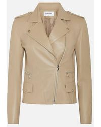 Sylvie Schimmel Taupe Biker Leather Jacket - White