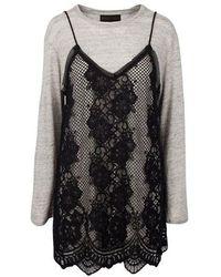 Kendall + Kylie Kendall + Kylie Womens Lace T-shirt Grey Dress