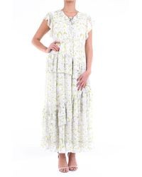 Isabelle Blanche Long Dress In Light Grey And White Patterned With Short Sleeves