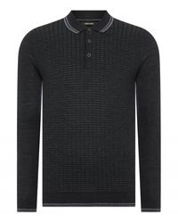 Remus Uomo Uomo Spotted Long Sleeve Knitted Charcoal Colour: Charcoal, Size - Grey
