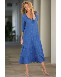 Aspiga Crystal Embroidered Organic Cotton Midi Dress | Marina - Blue