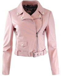 Moschino Boutique Leather Jacket With Pearl Details - Pink