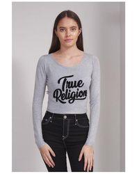 True Religion Chenille Jumper Colour: Heather Grey