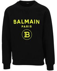 Balmain Black Cotton Sweatshirt With Flocked Neon Yellow Logo