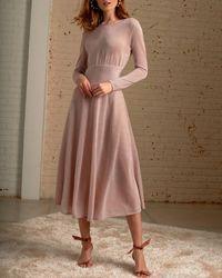 Cecilia Prado Sparkly Pink Long Sleeve Midi Dress