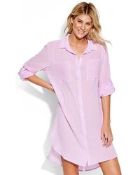 Seafolly Crinkle Twill Beach Shirt Lilac - Pink