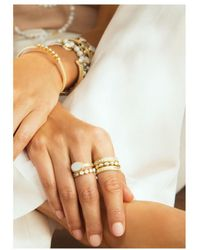 Anna Beck - Howlite & White Agate Set Of 3 Stacking Rings - Lyst