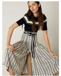 Marella Jinger Spot Belted Pleat Midi Skirt - White